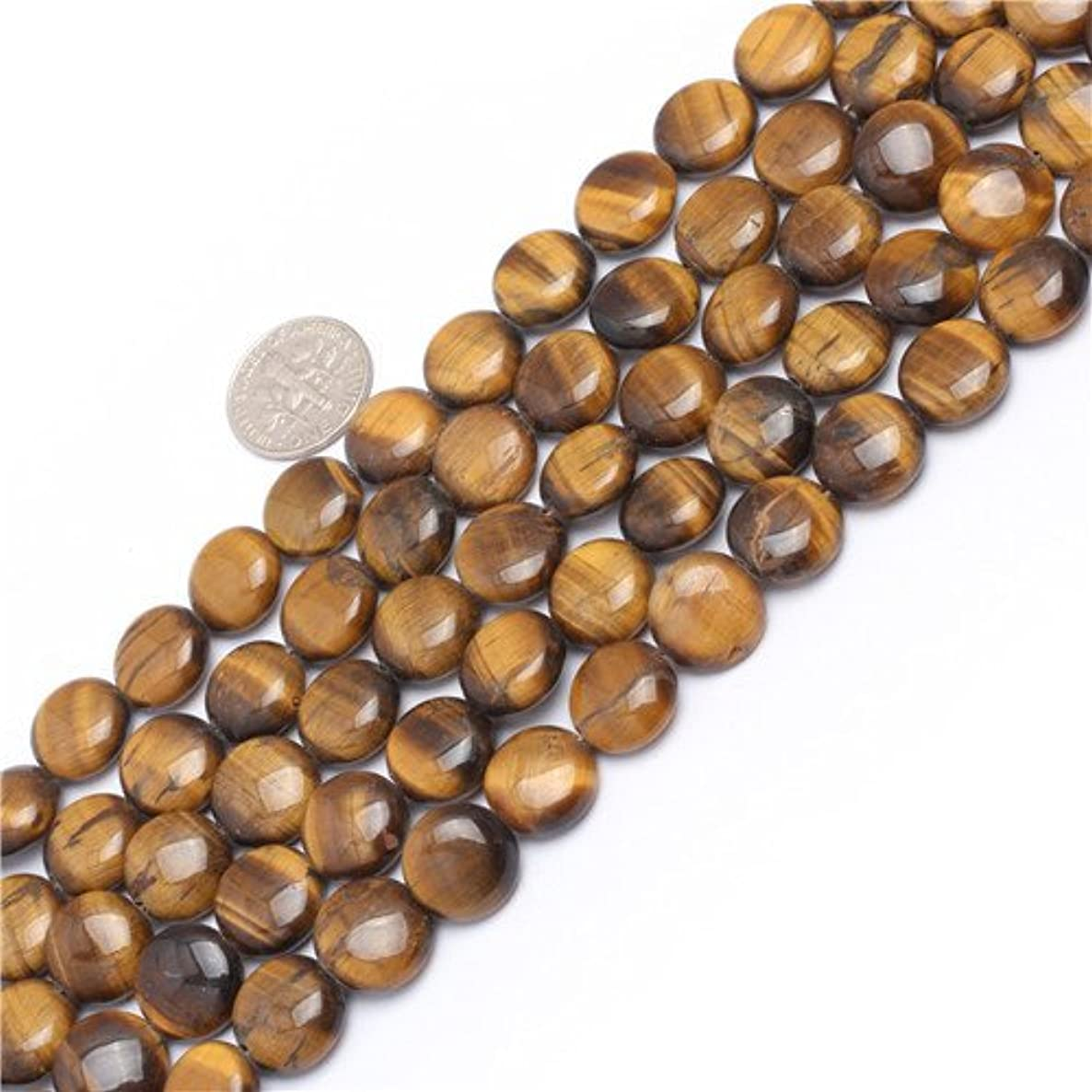 GEM-inside Natural 12mm Coin Tiger Eye Gemstone Loose Beads for Jewelry Making Jewelry Beading Supplies for Women