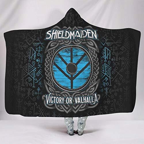 QVOOD Manta vikinga con capucha, manta de sofá, manta de microfibra, manta de franela, suave para adultos y niños, color blanco, 150 x 200 cm