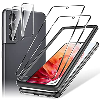 LK 2 Pack Samsung Galaxy S21 Screen Protector 6.2-Inch Galaxy S21 Tempered Glass Screen Protector & 2 Pack Camera Lens Protectors with Alignment Frame Easy Installation Case-Friendly Anti-Scratch