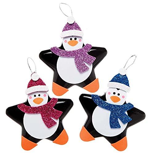 Baker Ross FE836 Kits de Adornos de Pingüinos Navideños en forma de Estrella - Paquete de 6, Haz tus propias Decoraciones Navideñas, Adornos de Árboles Festivos para que los Niños Decoren