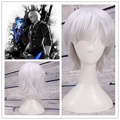 Hot Game Perücke Dante Cosplay Perücke Silber Kurzes Haar Halloween Cosplay Kostüm Requisiten 30CM Event Konzert