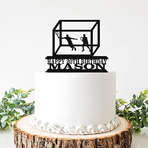 Decoración para tarta de boda de acrílico para hombre con diseño de Squash Court y decoración para tarta de cumpleaños de 6 pulgadas para despedida de soltera, aniversario, cumpleaños.