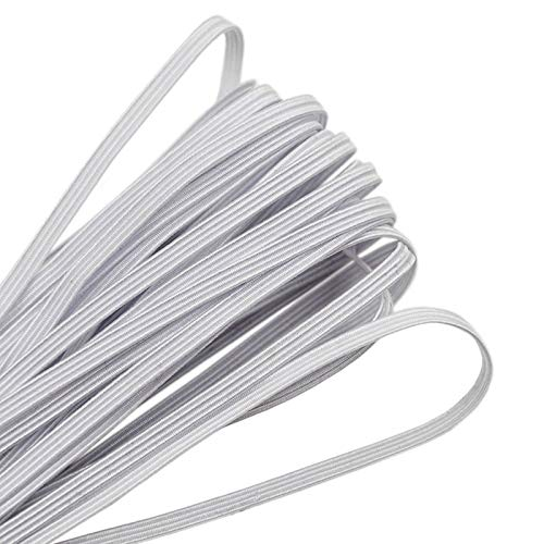 Elastico per Cucito, Cordoncino Elastico Piatto Cavo Elastico Bianco per Cucito e Artigianato, Corda Elastica Bobina Elastica per Maglieria, 3mm, 9metri