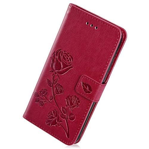 Herbests Estuche Compatible con Xiaomi Mi 5X/Xiaomi Mi A1 Funda de Piel de PU Retro Vintage Wallet Flip Case Cover en Relieve Diseño Rose Flores Funda de Billetera de Color Puro,Rojo