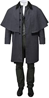 Taoliyuan Mens Attached Cape Costume Victorian Trench Inverness Button Down Capecoat Cosplay with Pockets