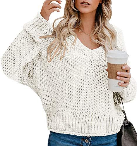 Yidarton Pullover Damen Casual Elegant Strickpullover Grobstrickpullover Sweatshirts Pulli V-Ausschnitt Langarm Lose Winter (2-Beige, M)