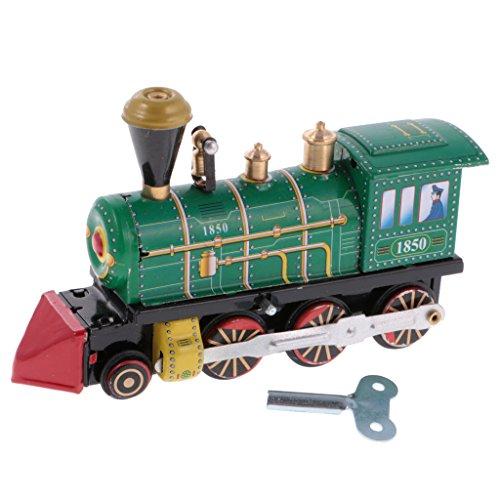 sharprepublic Modelo De Locomotora De Tren De Juguetes De Hojalata Vintage con Wind Up Key Regalos Coleccionables