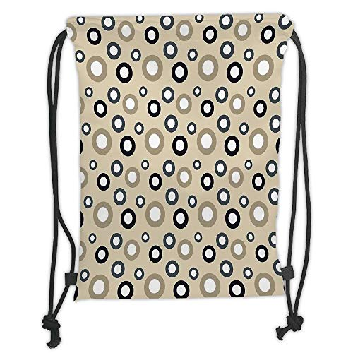 Fevthmii Drawstring Backpacks Bags,Geometric Circle Decor,Disc Shaped Curve Figures with Interior Hoops on Beige Vintage Inspired,Multi Soft Satin,5 Liter Capacity,Adjustable String Closure