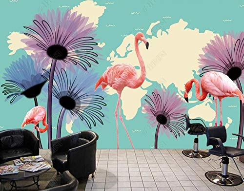 Wallpaper 3D Wall Murals Flamingo Watercolor Flower Map Wallpaper Wall Mural Living Room Bedroom Tv Background Wall Mural Decoration Art 150cmx105cm