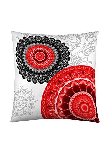 Funda de cojín de algodón, Rojo/Gris, 50 x 50 cm