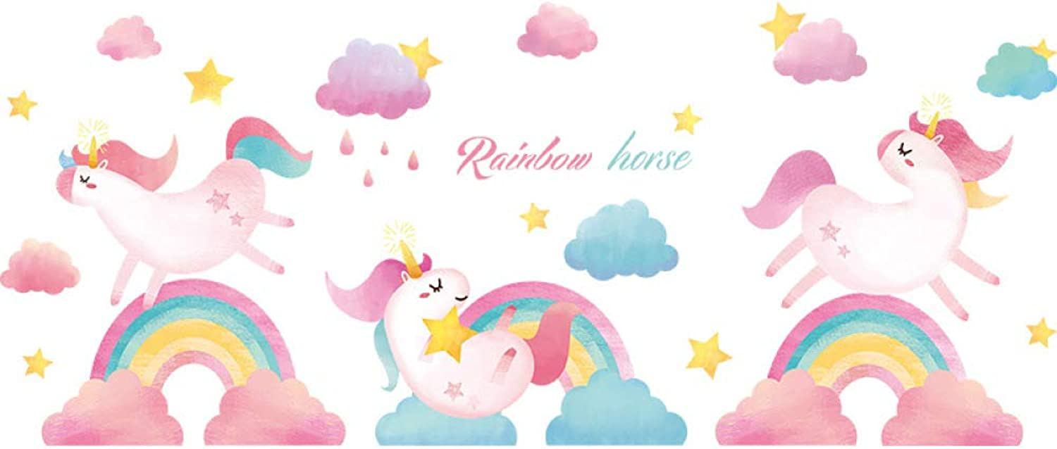 ZYOOtt Rainbow Unicorn Wall Sticker Pvc SelfAdhesive Decals for Kids Room color   2 pcs