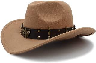 Ruiyue Vintage Wool Felt Cowboy Wide Brim Bowler Hat Turquoise Braid Band For Women Men