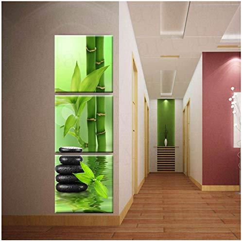 ZHANGPENGBOFBH Home Room Art Wanddekoration Leinwand Bilder Wandkunst Leinwand Malerei Spa Stein Bambus Dekoration Für Wohnzimmer-50x50 cm Kein Rahmen