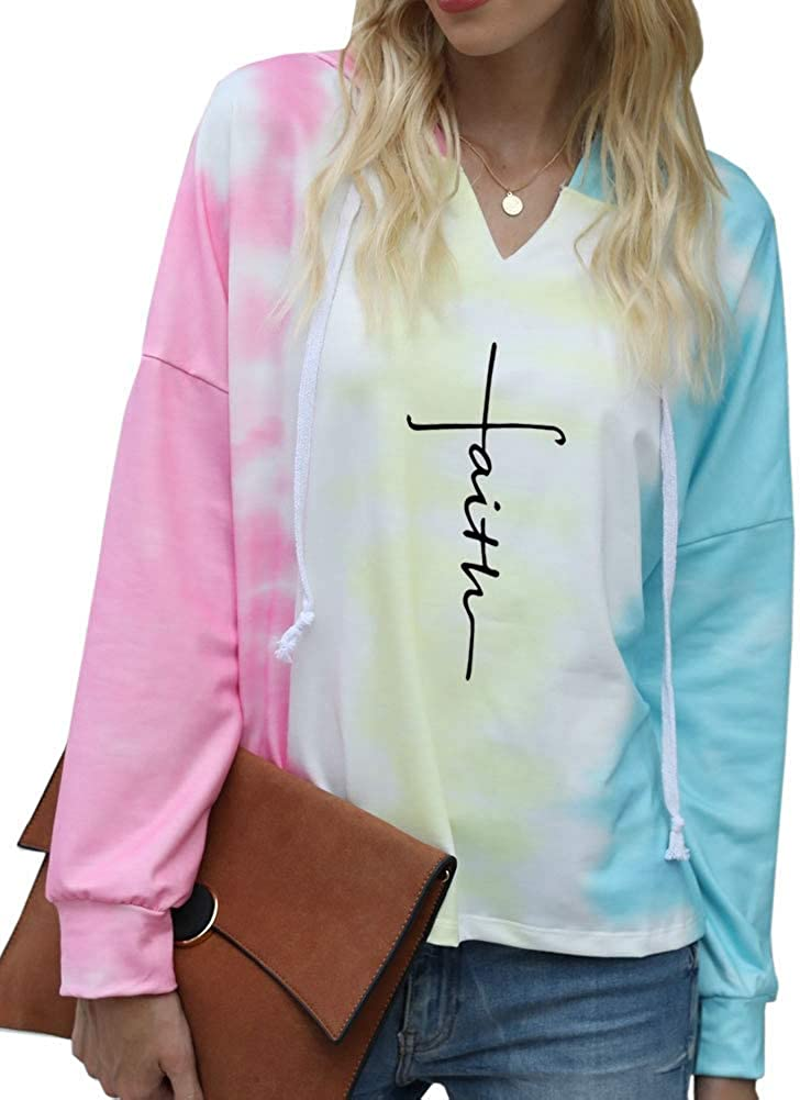 Rfecccy Women's Faith Tie Dye V Neck Hoodies Casual Long Sleeve Pullover Tops