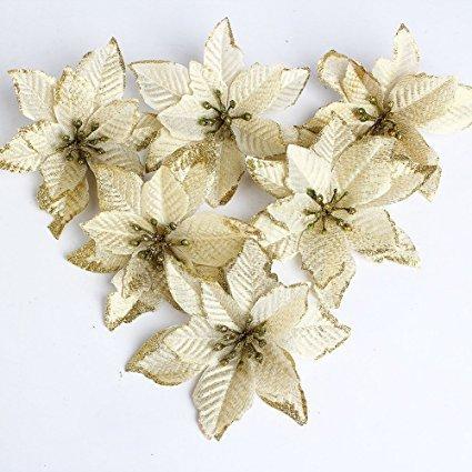 KOJOTON 6 piezas de adorno de flores artificiales con purpurina para árbol de Navidad, decoración para fiestas, bodas, plantas de flores falsas para el hogar, cocina, decoración de flores (dorado)