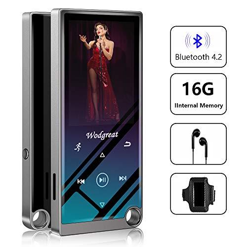 Wodgreat MP3 Player Bluetooth 16GB MP3 Player Kinder mit Lautsprecher MP4 Musik Player, 2.4 Zoll MP3 Player mit Radio/Schrittzähler/Sleep-Timer/Kopfhörer/Armband, Unterstützung von bis zu 128GB