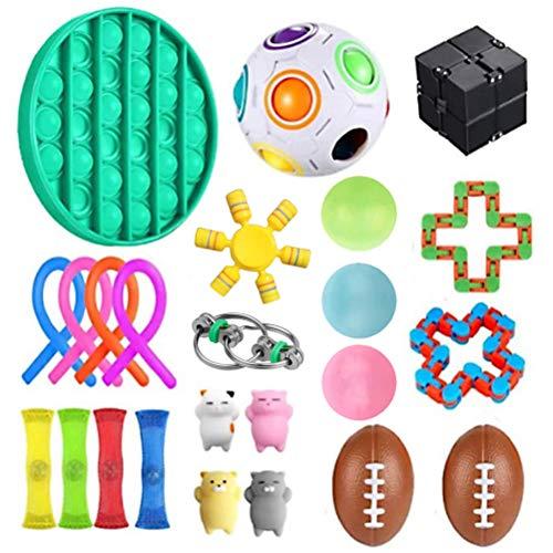 NOEARR Fidget Toys, 24er Pack Fidget Sensory Toy Set, Stressabbau-Spielzeugset, Anti Stress Sticky Balls Premium- Und Langlebiges Stressabbau-Spielzeug Für Kinder Erwachsene ,Push Pop Pop Bubble
