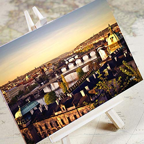 XiYon 6 Blätter/Set Charming City Series Stadtlandschaft Postkarte Grußkarte Nachrichtenkarte Geburtstagsgeschenkkarte, Prag
