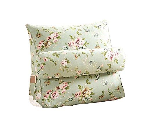 Réglage triangulaire Coussin/coussin de cale arrière, canapé-lit de bureau Toile Coussins de grand repos Coussin de soutien au cou (fleurs vertes) (taille : 45 * 50 * 22cm)