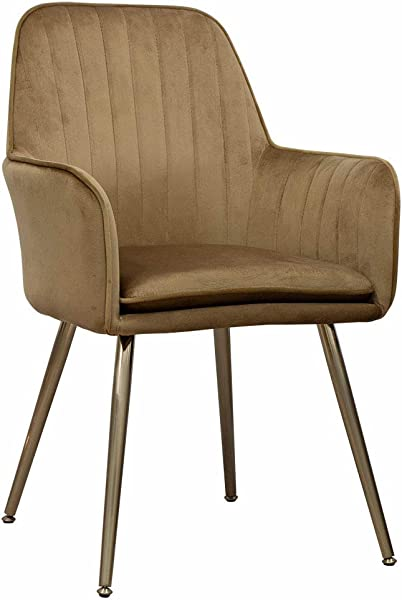 Accent Living Room Leisure Armchair Velvet Fabric Dining Chair With Golden Metal Legs Camel