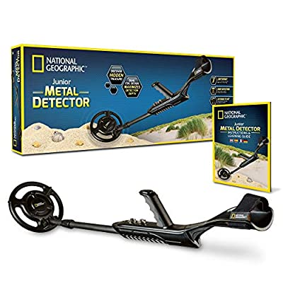 "NATIONAL GEOGRAPHIC Junior Metal Detector –Adjustable Metal Detector for Kids with 7.5"" Waterproof Dual Coil, Lightweight Design Great for Treasure Hunting Beginners"