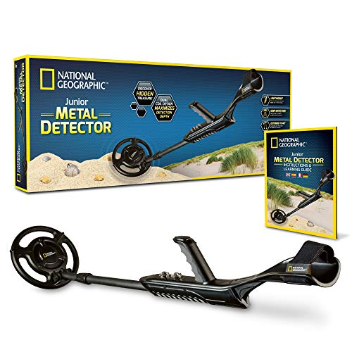 NATIONAL GEOGRAPHIC Junior Metal Detector –Adjustable Metal Detector for Kids with 7.5' Waterproof Dual Coil, Lightweight Design Great for Treasure Hunting Beginners