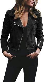 JESPER Womens Retro Rivet Zipper Up Bomber Jacket Casual Coat Faux Leather Outwear