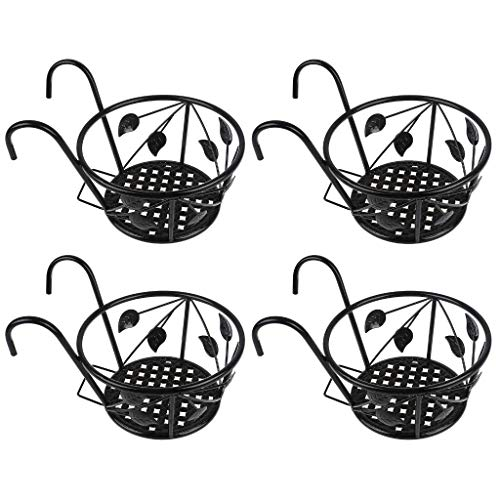 Diyiming 4 Pack Balcony Hanging Railing Planters Basket Flower Pot Holders Plant Iron Racks Fence Metal Potted Stand Mounted Round Plant Baskets Shelf for Indoor&Outdoor Use,Steel Hanging Planters