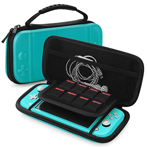 TNP Travel Carry Case for Nintendo Switch Lite Hard Shell EVA Material Portable Travel Pouch Deluxe Cover w/ Strap Handle for Switch Lite Console, 8 Game Card Holder, Joystick Pressure Relief (Blue)
