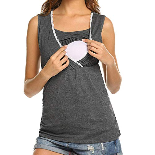 Camiseta Mujeres Embarazadas Breastfeeding T-Shirt Amamantando Color Sólido Ropa Premamá Blusa Reducción de Precio