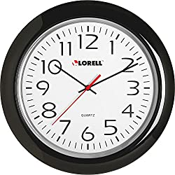Lorell 60989 Wall Clock, 13-1/4-Inch, Arabic Numerals, Black Frame