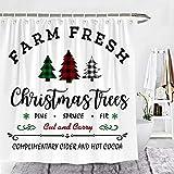Wencal Farm Fresh Buffalo Karo Karo Weihnachtsbaum Duschvorhang Rustikal Bauernhaus Badezimmer Dekor mit Haken 183 x 183 cm