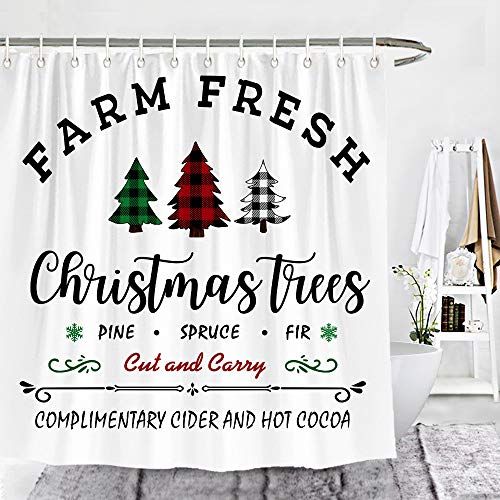 Wencal Farm Fresh Buffalo Check Plaid Christmas Trees Shower Curtain Rustic Farmhouse Bathroom Decor with Hooks 72 x 72 Inches