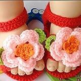 LEORX Bebé recién nacido infantil bebé niñas funda de lana ganchillo Cuna zapatos sandalias (Rosa + Rojo)