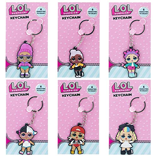MVS WHOLESALE LOL Key Rings - A Complete Set of 6 x Rubber Quality Keychains, Ideal for Collectors, Party Bag Fillers, Pass The Parcel Prizes or Stocking Fillers