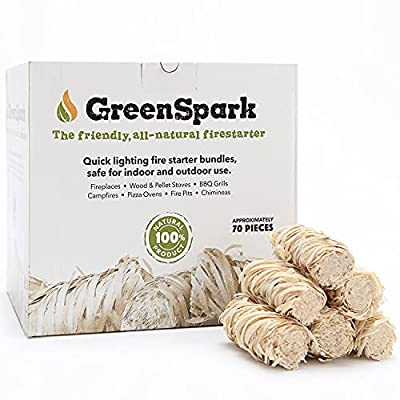 GreenSpark ? Friendly Fire Starter Bundles, 70 Count, 100% All-Natural, 8-10 Min. Burn, Fireplace, Campfire, Fire Pit, BBQ Grill, Wood & Pellet Stove, Indoor/Outdoor, All-Weather, Super Fast Lighting
