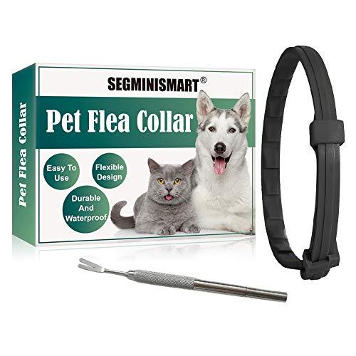 SEGMINISMART Collares Antiparasitario para Perro,Collar antipulgas y garrapatas para Perros y Gatos,Prevención de Pulgas y Garrapatas,Tamaño Ajustable e Impermeable