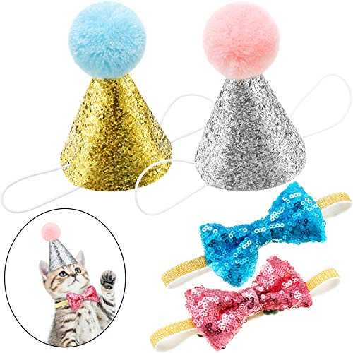 SATINIOR 4 Pieces Pet Birthday Hat and Bowtie Cute Reusable Dog Cat Headwear Adjustable and Collar Dog Headband Topper for Cat and Small Medium Dogs (Lake Blue and Pink, Style A)