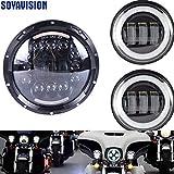 YEXIANG Halo Blanco Motor 90W 7 '' LED del Faro con halo Blanco 30w 4,5 Pulgadas LED luz de Cruce luz de Niebla for Harley Davidson Led Montaje de Faros (Color : Black Set)