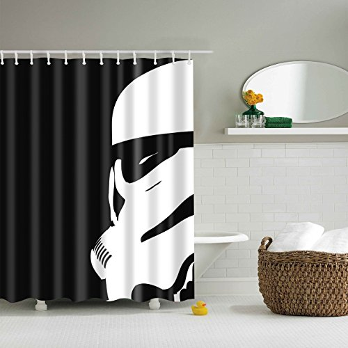 Youni Star Wars Movie Shower Curtain Black Background 72x72 Inch Polyester Waterproof Fabric with 12-Pack Plastic Shower Hooks