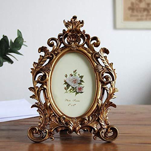 WWWL Marco de fotos retro ovalado de resina, marco de escritorio, marco de fotos de boda, fiesta, marco dorado, decoración del hogar, adornos artesanías, regalo de 6/7 pulgadas dorado