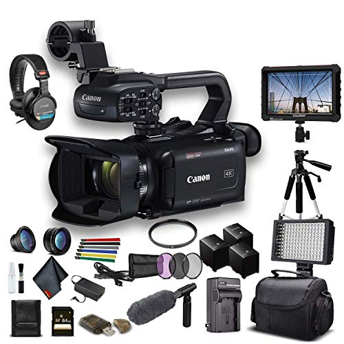 Canon XA40 Professional UHD 4K Camcorder (3666C002) W/ 2 Extra Battery, Soft Padded Bag, 64GB Card, Filter Kit, LED Light, Headphones, 4K Monitor, Sony Mic and More Advanced W/Mic Bundle (Renewed)
