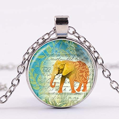 DADATU Elefante Indio Estilo exótico Elefante Animal 3D Impreso Hecho a Mano Cabujón de Cristal Collares Colgantes Joyería de la Vendimia