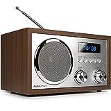 AudioAffairs DAB+Digitales Nostalgie-Radio | UKW-Retroradio mit Bluetooth | 2 Alarmzeiten mit Radiowecker | AUX-IN | Kopfhörereingang | Walnuss