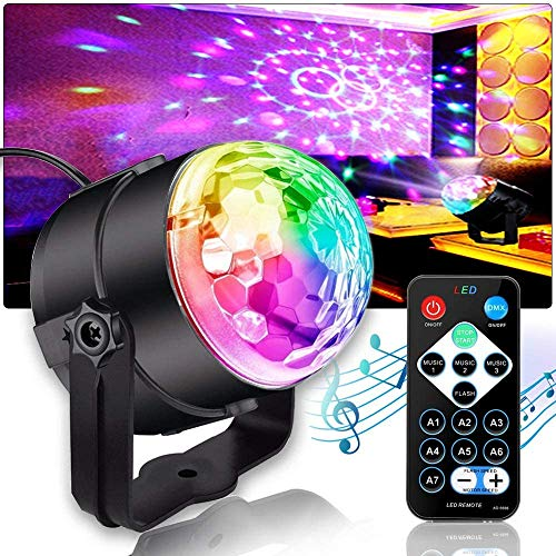Discokugel, MORFIT LED Disco Licht Party Licht Musikgesteuert Bühnenbeleuchtung 3W RGB Sprachaktiviertes Kristall Magic Ball Bühnenlicht mit Fernbedienung für KTV Xmas Party Hochzeits-Show Club (DE)