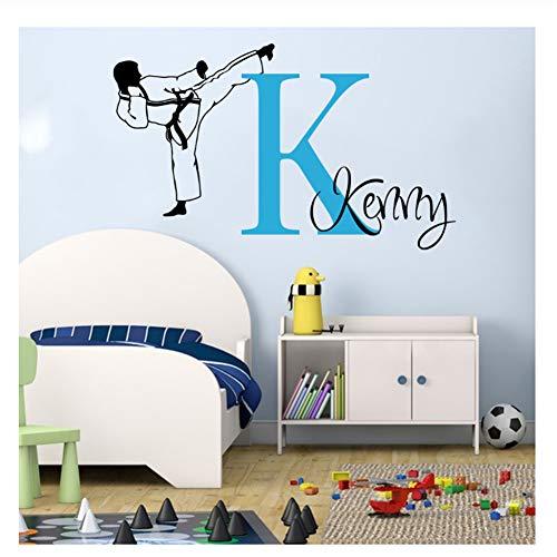 Große Benutzerdefinierte Name Karate Martial Taekwondo Wandtattoo Jungenzimmer Personalisieren Boxen Judo Sport Wandaufkleber Schlafzimmer Spielzimmer Vinyl 108x56 cm