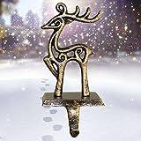 ODOMY Christmas Stocking Holders for Fireplace Mantle Stocking Hook Hangers Metal Snowman Reindeer Santa Snowflake Holder Indoor Vintage Christmas Decorations (Deer)