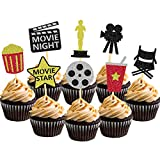 Hollywood Cupcake Toppers Cake Decoration for Birthday Movie Night Party Supplies Food Pick - Set of 24