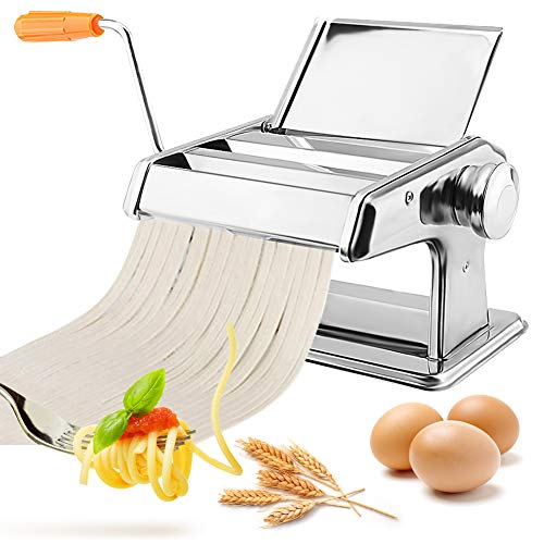 Ejoyous Manuelle Nudelmaschine, Nudelmaschine Pasta Maker Edelstahl Frische Manuell Pasta Walze Maschine Cutter mit 2 Schneiden für Spaghetti, Fettuccine und Lasagne