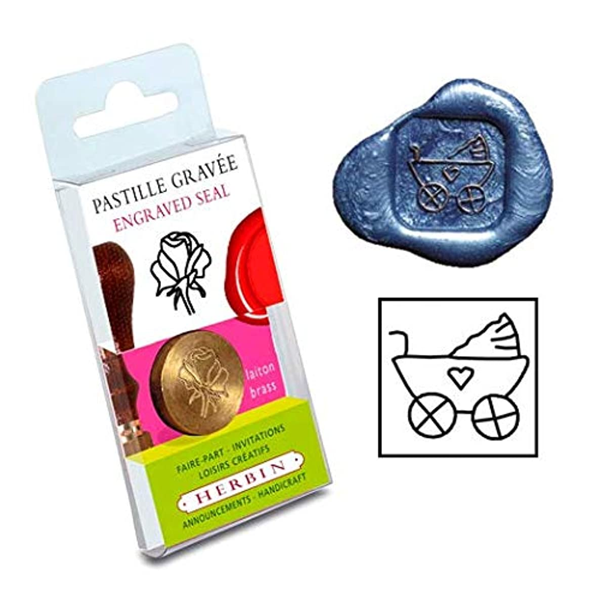 Herbin Brass Seal for Wax - Symbol no Wood Handle - Carriage